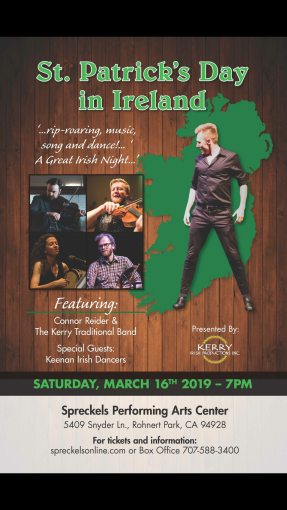 Come out to Celebrate St. Patrick's Day with us!🍀 March 16 downtown in the Square Santa Rosa performance at 2:15pm and March 17 at Spreckels 7:00pm